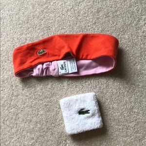 Lacoste headband and sweatband set